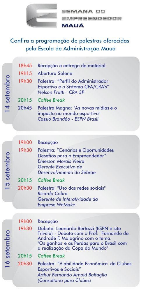 Programação Semana do Empreendedor Mauá 2010
